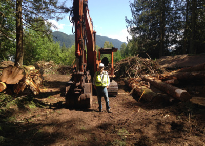 GEW's logging safety professional inspecting landing and cuter